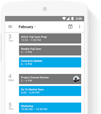 calendar product screenshot